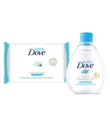 Baby Dove Rich Moisture Wipes - 50 Pieces and Baby Dove Rich Moisture Baby Massage Oil - 200 ml