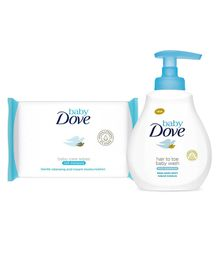 Baby Dove Rich Moisture Hair to Toe Baby Wash - 400 ml and Baby Dove Rich Moisture Wipes - 50 Pieces