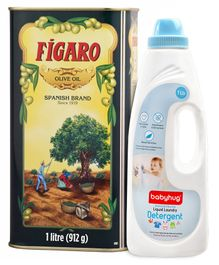 Figaro Olive Oil - 1 Liter and Babyhug Liquid Laundry Detergent - 1000 ml
