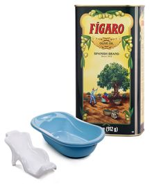 Figaro Olive Oil - 1 Liter and Babyhug Joy Bath Tub - Blue