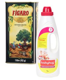 Figaro Olive Oil - 1 Liter and Babyhug Feeding Bottle Accessories & Vegetables Liquid Cleanser - 1000 ml