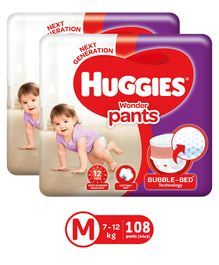 Huggies Wonder Pants Medium Size Pant Style Diapers - 54 Pieces (Pack of 2)