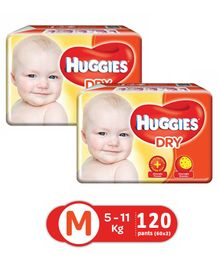 Huggies New Dry Taped Diapers Medium - 60 Pieces (Pack of 2)