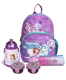 Sofia the First Kids Bag Purple 12 Inch & Disney Sofia Lunch Box Pack of 2 Purple & Disney Sofia Round Pencil Pouch Purple Blue Pink & Disney Sipper Water Bottle Sofia the First Print Purple 400 ml