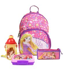 Disney Princess Kids Bag Pink 12Inch & Disney Princess ClipLock Lunch Box With Spoon Pink & Disney Princess Sipper Bottle With Push Button Yellow  500ml & Disney Princess Rectangular Pencil Pouch Pink