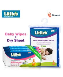 Little's Easy Dry Bed Protector Large & Soft Cleansing Baby Wipes - 80 Pieces -Pack of 3