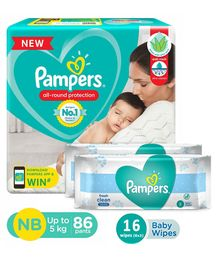 Pampers Pant Style Diapers Extra Small Size - 86 Pieces & Pampers Fresh Clean Baby Wipes - 8 Pieces (Pack of 2)
