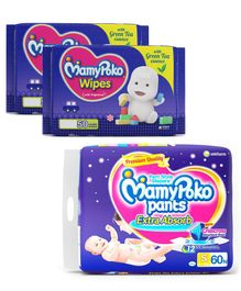MamyPoko Extra Absorb Pant Style Diapers Small - 60 Pieces & MamyPoko Wipes With Green Tea Essence - 50 Sheets ( Pack of 2)