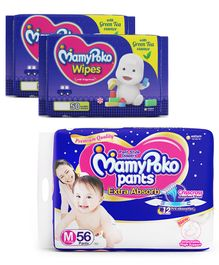 MamyPoko Extra Absorb Pant Style Diapers Medium - 56 Pieces & MamyPoko Wipes With Green Tea Essence - 50 Sheets ( Pack of 2)