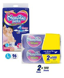 MamyPoko Extra Absorb Pant Style Diaper Monthly Jumbo Pack Large Size - 96 Pieces & MamyPoko Wipes With Green Tea Essence - 200 Sheets