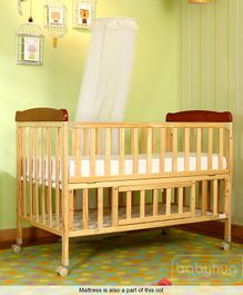 Babyhug Hamilton Cot with Mosquito Net & Mattress