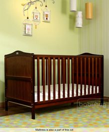 Babyhug Merlino Wooden Cot Cum Bed & Mattress