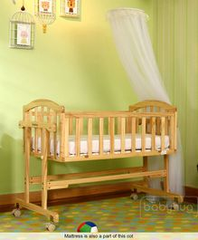 Babyhug Ionia Wooden Cradle With Mosquito Net - Natural Finish & Babyhug Baby Mattress Floral Print - Off White