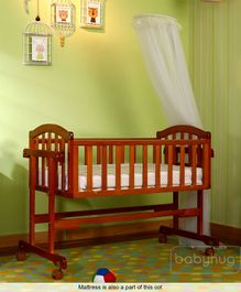 Babyhug Ionia Wooden Cradle With Mosquito Net - Cherry & Babyhug Baby Mattress Floral Print - Off White