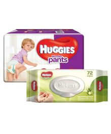 Huggies Wonder Pants Extra Large Size Pant Style Diapers - 38 Pieces & Huggies Nourishing Clean Baby Wipes with Cucmber & Aloe Vera - 72 Pieces