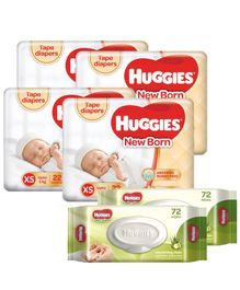 Huggies Taped Diapers For New Baby -22 Pieces (Pack of 4 ) & Huggies Nourishing Clean Baby Wipes with Cucmber & Aloe Vera - 72 Pieces (Pack of 2)