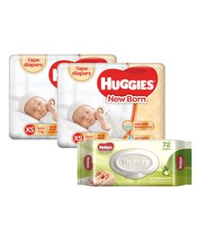 Huggies Taped Diapers For New Baby -22 Pieces (Pack of 2 ) & Huggies Nourishing Clean Baby Wipes with Cucmber & Aloe Vera - 72 Pieces