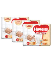 Huggies Taped Diapers For New Born -72 Pieces (Pack of 3)