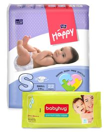 Bella Baby Happy Diapers Small - 22 Pieces & Babyhug Premium Baby Wipes - 80 Pieces