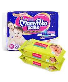 MamyPoko Extra Absorb Pant Style Diapers Medium - 56 Pieces &  Babyhug Premium Baby Wipes - 80 Pieces (Pack of 2)