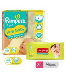 Pampers New Baby Diapers New Born - 24 Pieces &  Babyhug Premium Baby Wipes - 80 Pieces