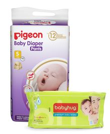 Combo of Pigeon Ultra Premium Small Size Baby Diaper Pants - 40 Pieces & Babyhug Premium Baby Wipes - 80 Pieces