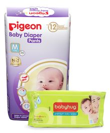 Combo of Pigeon Ultra Premium Medium Size Baby Diaper Pants - 36 Pieces & Babyhug Premium Baby Wipes - 80 Pieces