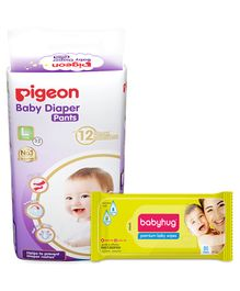 Combo of Pigeon Ultra Premium Large Size Baby Diaper Pants - 32 Pieces & Babyhug Premium Baby Wipes - 80 Pieces