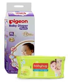 Combo of Pigeon Ultra Premium Extra Large Size Baby Diaper Pants - 28 Pieces & Babyhug Premium Baby Wipes - 80 Pieces