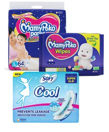 MamyPoko Extra Absorb Pant Style Diapers Large - 64 Pieces & Sofy Cool Super Extra Long- Sanitary Pads - 30 Pieces & MamyPoko Wipes With Green Tea Essence - 100 Sheets