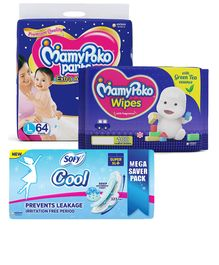 MamyPoko Extra Absorb Pant Style Diapers Large - 64 Pieces & Sofy Cool Super Extra Long- Sanitary Pads - 44 Pieces & MamyPoko Wipes With Green Tea Essence - 100 Sheets