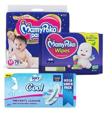 MamyPoko Extra Absorb Pant Style Diapers Medium - 76 Pieces & Sofy Cool Super Extra Long- Sanitary Pads - 44 Pieces & MamyPoko Wipes With Green Tea Essence - 100 Sheets