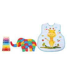 Alpaks Elephant Wooden Jigsaw Puzzle 1 Side Alphabets & Other Side Numbers - Multicolor & Alpaks Wooden Xylophone Small - Multi Color & Alpaks Apron With Pocket Giraffe Print (Colour May vary)