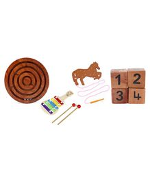 Alpaks Numeric Wooden Dice Pack Of 4 & Alpaks Ball Tracking Game - Brown & Alpaks Wooden Guitar Shaped Xylophone - Multicolour & Alpaks Lacing Horse Wooden Toy ( Lacing Colour May Vary)