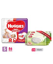 Huggies Wonder Pants Small Pant Style Diapers - 86 Pieces & Huggies Nourishing Clean Baby Wipes with Cucmber & Aloe Vera Pack of 3 - 216 Pieces