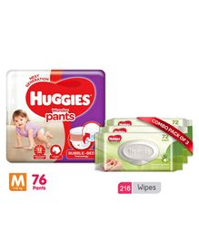 Huggies Wonder Pants Medium Pant Style Diapers - 76 Pieces & Huggies Nourishing Clean Baby Wipes with Cucmber & Aloe Vera Pack of 3 - 216 Pieces
