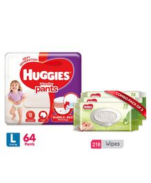 Huggies Wonder Pants Large Size Pant Style Diapers - 64 Pieces & Huggies Nourishing Clean Baby Wipes with Cucmber & Aloe Vera Pack of 3 - 216 Pieces