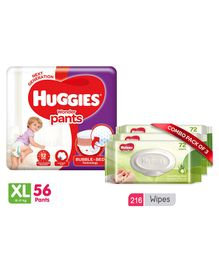 Huggies Wonder Pants Extra Large Pant Style Diapers - 56 Pieces & Huggies Nourishing Clean Baby Wipes with Cucmber & Aloe Vera Pack of 3 - 216 Pieces