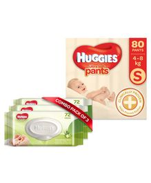 Huggies Ultra Soft Small Size Diaper Pants - 80 Pieces & Huggies Nourishing Clean Baby Wipes with Cucmber & Aloe Vera Pack of 3 - 216 Pieces