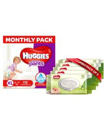 Huggies Wonder Pants Diaper Monthly Pack Extra Large Size - 112 Pieces & Huggies Nourishing Clean Baby Wipes with Cucmber & Aloe Vera Pack of 5 - 360 Pieces