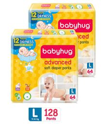 Babyhug Advanced Pant Style Diapers Large - 64 Pieces Pack of 2