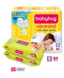 Babyhug Advanced Pant Style Diapers Small - 84 Pieces & 2 Packs of Babyhug Premium Baby Wipes - 80 Pieces