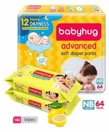 Babyhug Advanced Pant Style Diapers New Born - 64 Pieces & 2 Packs Of Babyhug Premium Baby Lemon Wipes - 72 Pieces