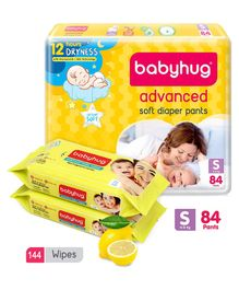 Babyhug Advanced Pant Style Diapers Small - 84 Pieces & 2 Packs Of Babyhug Premium Baby Lemon Wipes - 72 Pieces
