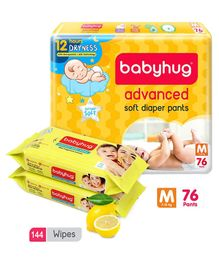 Babyhug Advanced Pant Style Diapers Medium - 76 Pieces & 2 Packs Of Babyhug Premium Baby Lemon Wipes - 72 Pieces