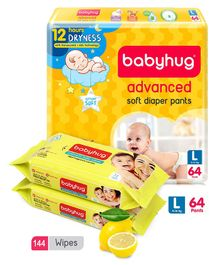 Babyhug Advanced Pant Style Diapers Large - 64 Pieces & 2 Packs Of Babyhug Premium Baby Lemon Wipes - 72 Pieces