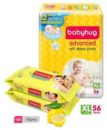 Babyhug Advanced Pant Style Diapers Extra Large - 56 Pieces & 2 Packs Of Babyhug Premium Baby Lemon Wipes - 72 Pieces