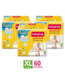 Babyhug Advanced Pant Style Diapers Extra Large - 20 Pieces Pack of 3