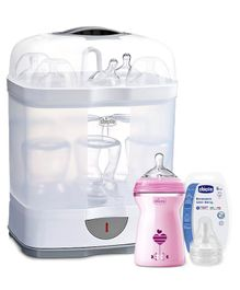 Chicco Natural Feeling Fast Flow Feeding Bottle Pink - 330 ml, Well Being Food Teat - 2 Pieces & 2 In 1 Steam Sterilizer - White & Blue