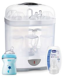 Chicco 2 In 1 Steam Sterilizer - White & Blue , Chicco Well Being Food Teat - 2 Pieces &  Natural Feeling Medium Flow Feeding Bottle Blue - 250 ml